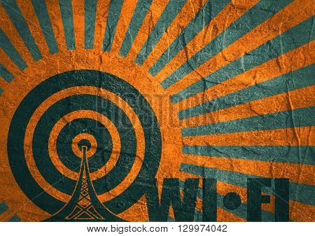 Wi Fi Network Symbol . Mobile gadgets technology relative image. Concrete textured. Sun rays backdrop. Wi Fi text