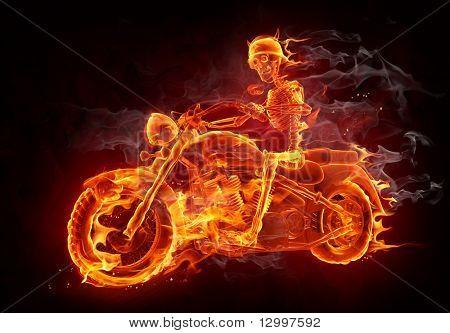 Fire skeleton riding motorcycle