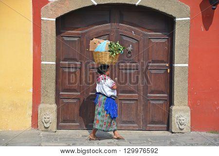 ANTIGUA GUATEMALA MAY 02 2016: Portrait of a Mayan woman. The Mayan people still make up a majority of the population in Guatemala,