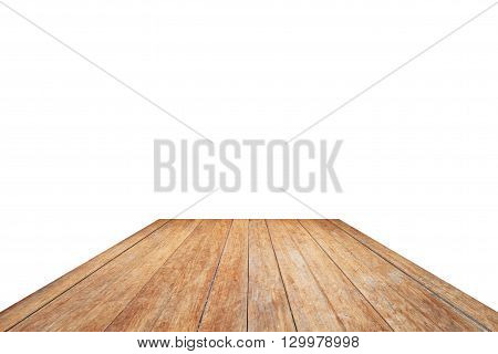 Wooden table top isolated on white background, stock photo