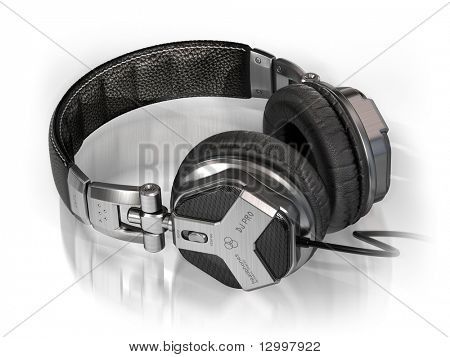 Headphones on white. My own design made for the image. Logo is a fake.