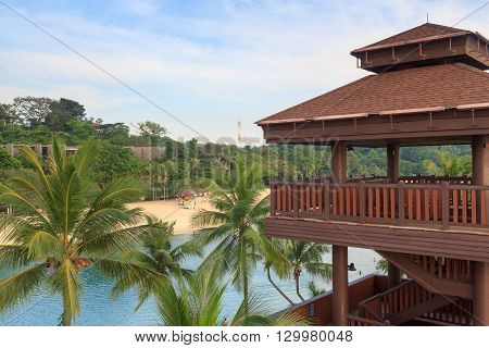 Viewing tower at Palawan Beach - Southernmost Point of Continental Asia Sentosa Island Singapore