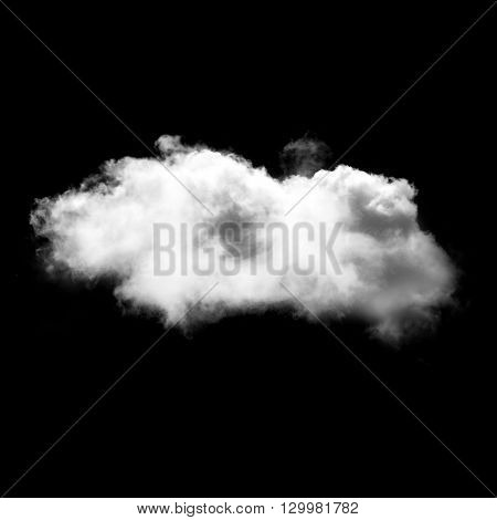 Single white fluffy cloud isolated over black solid background. Weather forecast concept