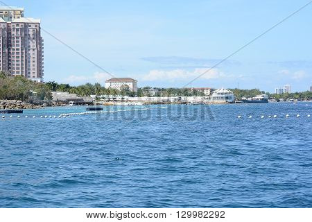 CEBU PHILIPPINES - APRIL 5 2016: Shangri-La Mactan Resort and Spa seen from the water. The luxury resort features a Marine Sanctuary.