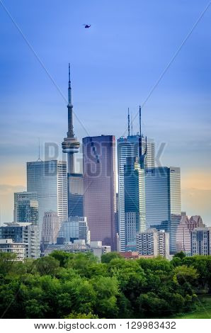 Toronto Skyline, Downtown With Cn Tower In The Spring