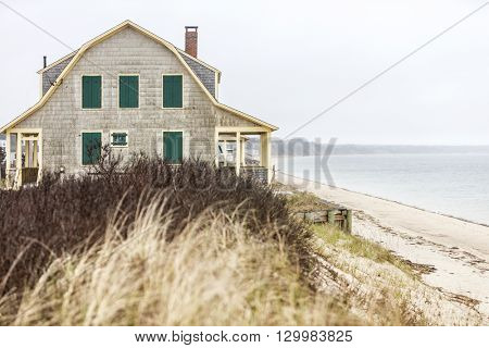 A boarded up out of season house in Cape Cod, Massachusetts USA