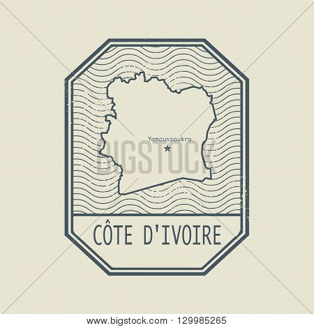 Stamp with the name and map of Cote d Ivoire, vector illustration