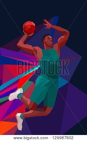 Polygonal geometric professional basketball player on colorful low poly background doing jump shot