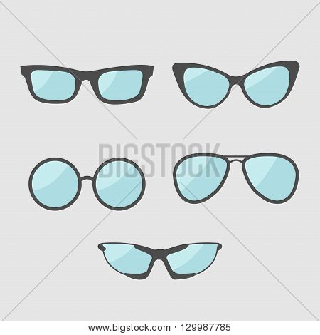 Glasses set. Eyeglasses collection. Isolated Icons. White background. Flat design Vector illustration
