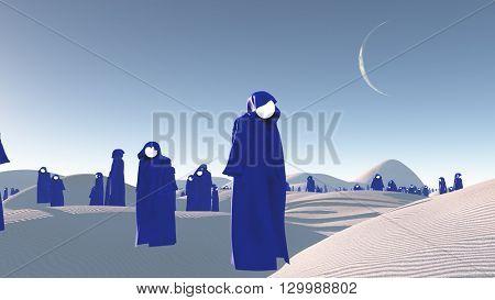 figures in blue robes in the desert 3D Render