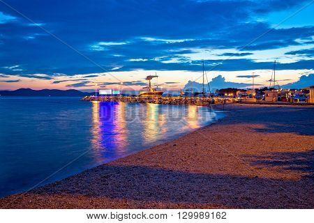 Zadar beach and marina evening view Dalmatia Croatia