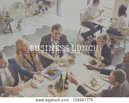 Business Lunch Food Meeting Talking Discussion Concept