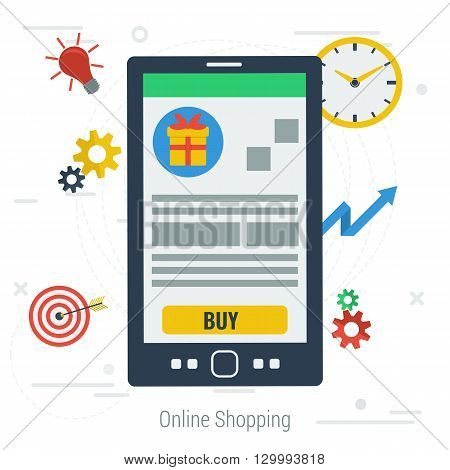 Vector concept mobile online shopping. Easy mobile online payroll operation. Smartphone with item and button buy clock target on white background. Flat style. Web infographics
