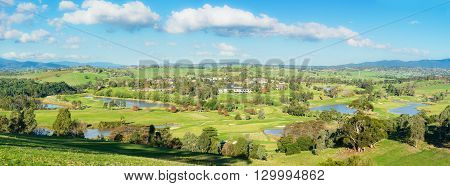 Panorama landscape view of Yarra Glen Valley, a beautiful winery region, Dandenong ranges and the surrounding Warrandyte area in Melbourne during daytime