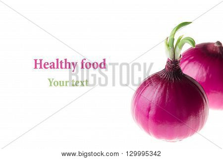 Group pink onion on a white background. Several peeled shiny onion. Isolated. Food background.
