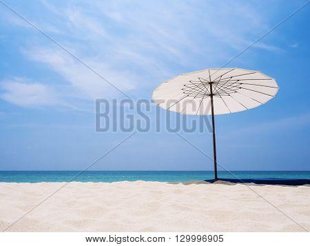 Umbrella on Sand Beach Summer Holiday Travel outdoors
