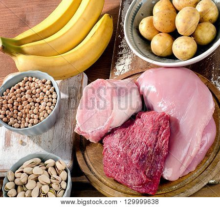 Foods Highest In Vitamin B6 On  Wooden Board.