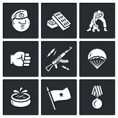 Vector Set of Russia Airborne troops Icons. Soldier, Beret, Bricks, Workout, Punch, Weapon, Landing, Fountain, Flag, Award. poster