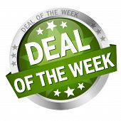 colored button with banner and text Deal of the week poster
