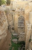 Excavated archeological arch in the Pool of Bethesda and Byzantine Church.  Located in the Muslim Quarter in Old Jerusalem, Israel on the path of the Beth Zeta Valley. poster