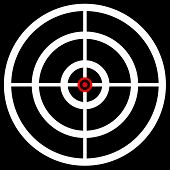 Cross hair target mark reticle. Graphics for hunting accuracy firearm aiming targeting concepts. poster