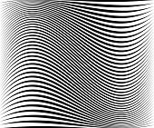 Wavy dynamic irregular lines pattern. Stripes with waving distortion. Minimal lined texture background. poster
