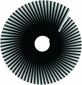 Spiral shape made of overlapping rectangles. Abstract monochrome volute spiral shape poster