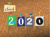 """The words """"CLASS OF 2020"""" written in cut ransom note style paper letters and pinned to a cork bulletin board. Vector EPS 10 illustration available. poster"""