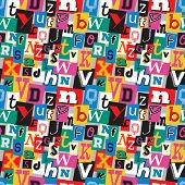 Vibrant multicoloured kidnapper ransom note seamless pattern. Fun background with letters for decoration, background and print. poster