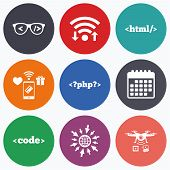 Wifi, mobile payments and drones icons. Programmer coder glasses icon. HTML markup language and PHP programming language sign symbols. Calendar symbol. poster