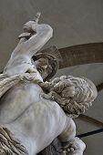 The Rape of Polyxena. Cruel Pyrrhus pitilessly kills Polyxena mother Hecuba a detail from the beautiful sculpture made by artist Pio Fendi in 1865 in Piazza della Signoria square Florence poster