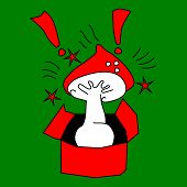 Red and white mushroom with a black outline in an open cardboard box on a green background. Exclamation points and stars. Shock, shock, surprise - unexpected or inappropriate gift or consignment. poster