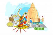 easy to edit vector illustration of people and culture of Gujarat, India poster