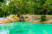 Emerald Pool aka Sa Morakot Khao Pra Bang Khram Wildlife Sanctuary Krabi Thailand. National Park Krabi Thailand tourist destination. Green color tropical lake Southeast Asia poster