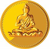 Illustration of a gold coin medallion showing silhouette of Gautama Buddha Siddhārtha Gautama Shakyamuni Buddha in lotus position viewed from front done in retro style. poster