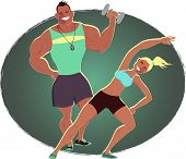 Fitness instructor and personal trainer, EPS8 vector illustration poster