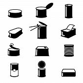 Cans food, canned goods vector icons. Food cans illustration, container cans food isolated, aluminum open cans food poster