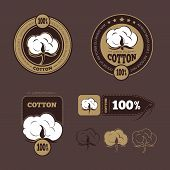 Retro cotton vector icons, labels. Production guarantee cotton, label cotton, badge or logo cotton illustration poster