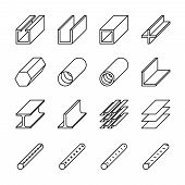 Rolled metal product icons. Rolled metal vector pictograms. Metal construction, steel metal industry, iron metal material, product metal pipe, metallurgy metal icon illustration poster