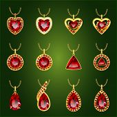 Set of realistic red jewels. Colorful red gemstones. Red rubies pendants isolated on green background. Princess cut jewel. Round cut jewel. Emerald cut jewel. Oval cut jewel. Pear jewel . Heart jewel. poster