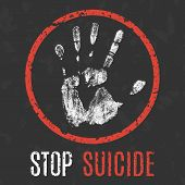 Conceptual vector illustration. problems of humanity. stop suicide poster