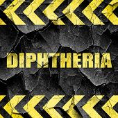 diphtheria, black and yellow rough hazard stripes poster
