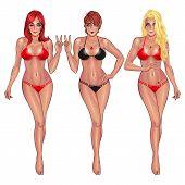 Beautiful young women in bikini isolated on white background Sexy girl. Beach girl. Summer girl. Bikini girl. Hot girl. Perfect body. Fitness girl. poster