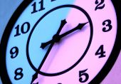 photo of a clock with color and blur effect. poster