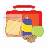 Lunch vector illustration. Lunch break concept. Lunch time design. Lunch box sandwich soda and an apple. Lunch icon in flat style. Lunch school. Lunch kids image. poster