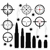 Crosshairs (gun sights) bullet cartridges and bullet holes poster