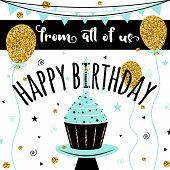 Happy Birthday vector card. Happy Birthday Background with golden balloons. HAPPY BIRTHDAY  - golden text. Happy Birthday template for banner, flyer, brochure, gift certificate, party invitation. poster
