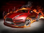 Red sports car.  Burnout. My own car design. poster