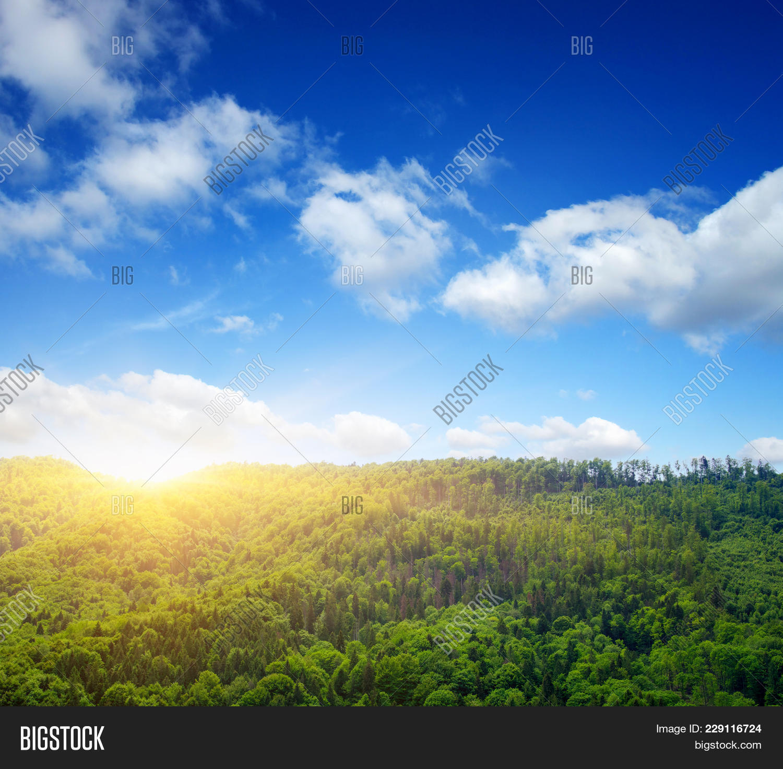 Beautiful Sun Mountain Landscape Powerpoint Template Beautiful Sun