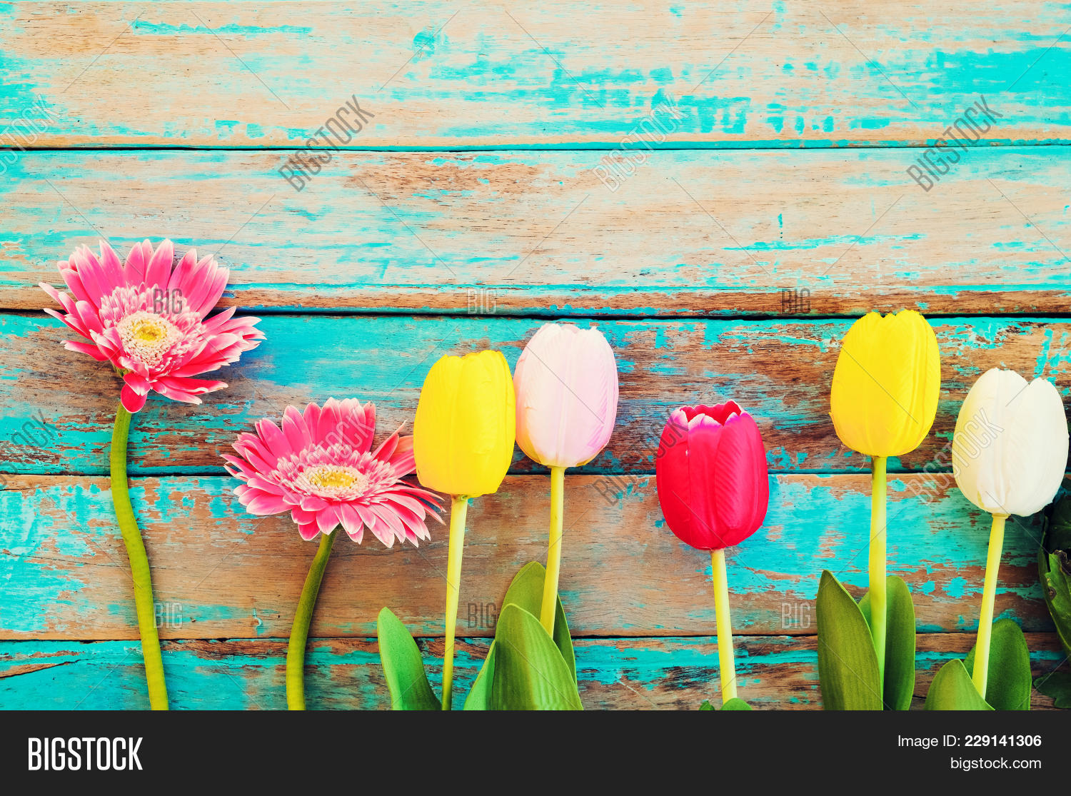Colorful Flowers On Vintage Powerpoint Template Colorful Flowers